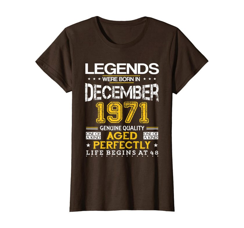 48th Birthday Gifts Vintage Legends Born In December 1971 T-shirt