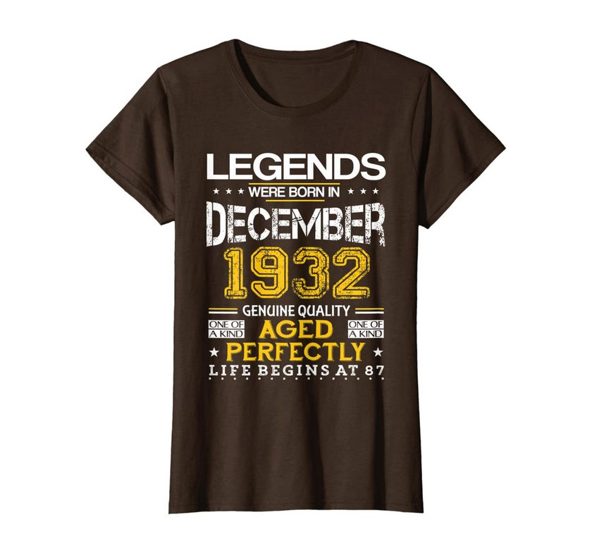 87th Birthday Gifts Vintage Legends Born In December 1932 T-shirt