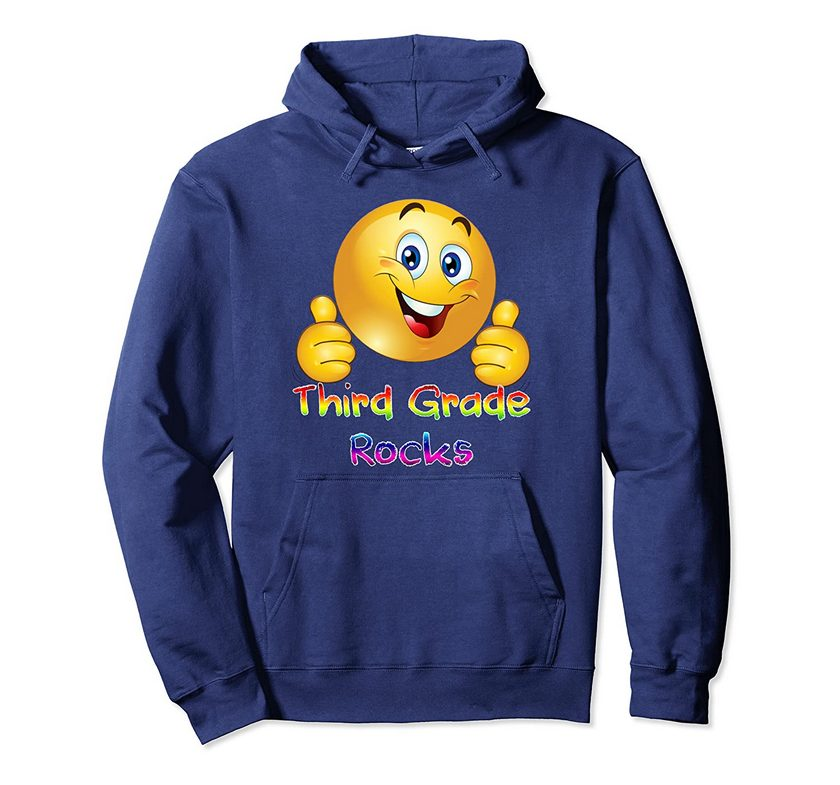 emoji third grade rocks two thumbs up back to school pullover hoodie 1 - Classic Shop