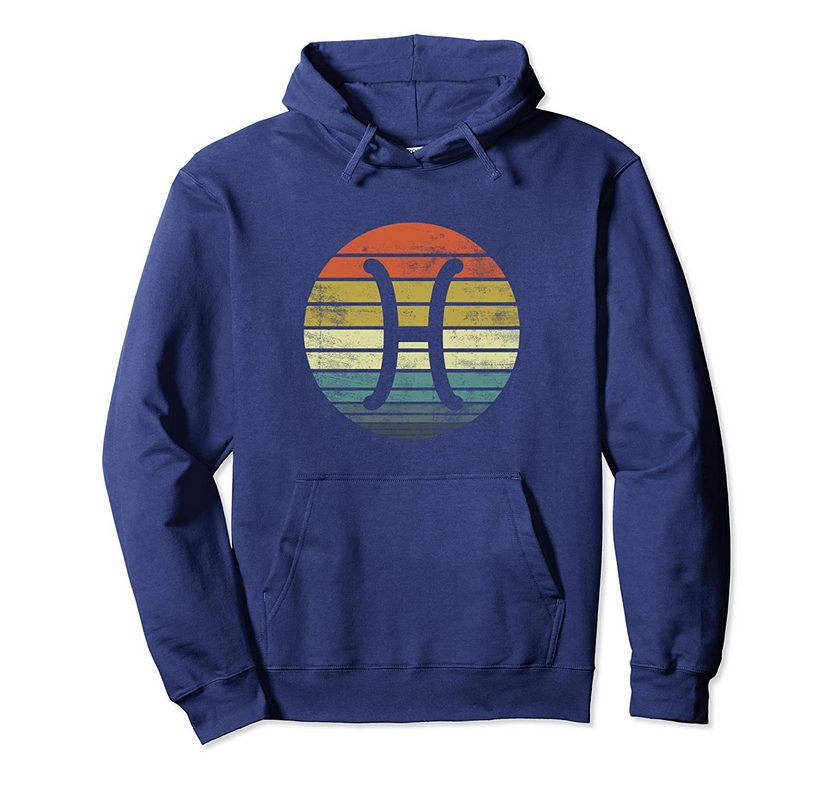 Pisces Gifts Funny Retro Sunset Zodiac Sign Birthday Pullover Hoodie